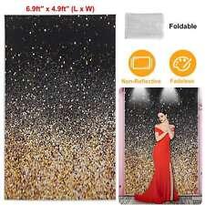 5x7FT Glitter Photo Backdrop Gradual Glitter Black Gold Bokeh Spots Background