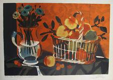 GANNE Yves- Lithographie originale signée - Corbeille de fruits et vase