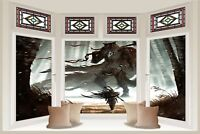 Huge 3D Bay Window Fantasy Warrior Forest View Wall Stickers Wallpaper Mural 721