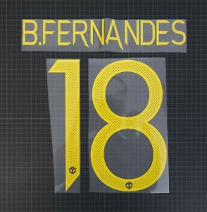 BRUNO FERNANDES #18 2021-2022 Player Size European & Cup Yellow Nameset Plastic