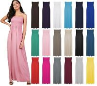 New Womens Ladies Sheering Boob tube Bandeau Strapless Long Maxi Dress Size 8-22