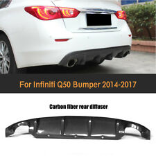 Rear Diffuser Bumper Lip Spoiler Fit for Infiniti Q50 Sedan 14-17 Carbon Fiber