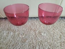 Vintage Set of 2 Crystal Rose Red Wine/ Cordial glass Set Excellent Condition