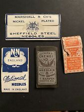 Lot of 4 vintage Sewing Needle packs with Advertising