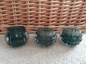 Heavy Glam Art Deco Smoked Glass Tealight Holder Set of 3 Green Home Decor Table