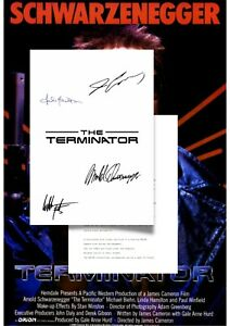 The Terminator Script/Screenplay With Movie Poster And Autographs Signed Print