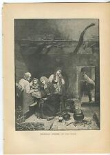 ANTIQUE NORWAY NORWEGIAN HOUSE HOME TEA KETTLE FIRE COOK POT CUP COSTUME PRINT