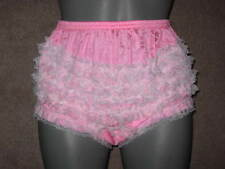 Ladies briefs BRIGHT PINK  nylon with ruffles large W -38 in Panties