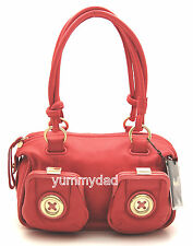 MIMCO MINI METAL BUTTON ZIP TOP LEATHER BAG IN BRIGHT CORAL BNWT RRP$399