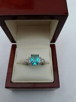 Art Deco style Blue Topaz & Diamante Dress Ring Size O and a half