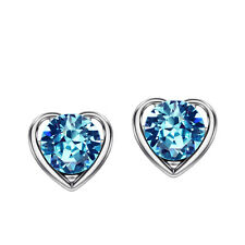 14k White Gold plated Auden Rhinestone Diamond cut Crystals Love Heart Earrings