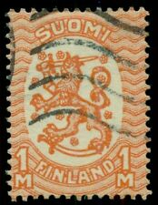 Finland #146v (128W3) 1mk Lion, scarce Watermark 3, used, Vf, Facit $85.00