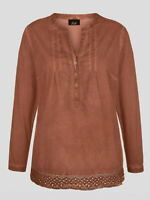 Copper Brown Soft Cotton Tunic Top Sizes 16 18 20 22 Crochet Hem V Neck Blouse