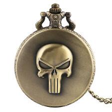 Copper Horror Skull Pocket Watch Analog Quartz Men Women Necklace Chain Gift