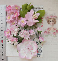 PINK & WHITE - 15 Flowers Roses & 5 Leaves 5 Styles = PAPER  Flowers 15-55mm VB4