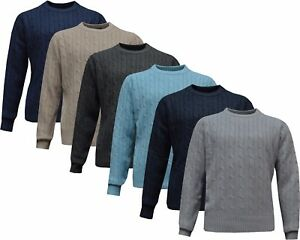 New Mens Plain Chunky Cable Knitted Crew Neck Top Knitwear Jumper Sweater S - XL