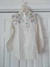 Beautiful Ivory Embroidered Flower Together! Blouse Top Long Sleeve Cotton NWT