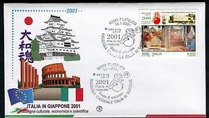 ITALY 2001 ART EXHIB.JAPAN/JOINT ISSUE/ANNUNNCIATION/BOTTICELLI/ARCHITECTURE FDC