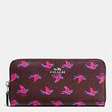 COACH 56811 HAPPY BIRDS BIRD SLIM ACCORDIAN ZIP CLUTCH WALLET BURGUNDY OXBLOOD