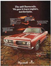 Vintage 1968 Magazine Ad Plymouth Barracuda Choose Hardtop Fastback Convertible