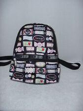 LeSportsac Sweet Talk  Basic Black Backpack Pink Candy Hearts Love