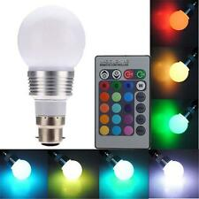 B22 3W 16 Color Changing RGB LED Light Bayonet Bulb Remote Control Globe Lamp #6