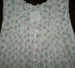 """NWT Eileen West White/Purple FLORAL BOUQUETS 40"""" Nightgown 1X 100% COTTON KNIT"""