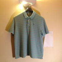 Lacoste Polo Shirt Men's Short Sleeve Striped W/Green Logo Nice Size: 7 XL