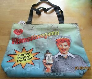 I Love Lucy Tote Bag purse- Vitameatavegamin- blue- red- Happy Peppy People
