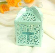 10pk Blue Christening/Baptism Favour Box Decorations Favor Gift Boxes