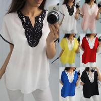 Womens Loose V-Neck Short Sleeve Chiffon Summer Casual T-shirt Blouse Tee Tops