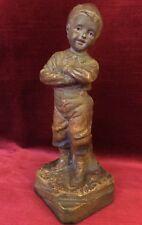 Statue ART DECO Ancienne POULBOT Jeune Homme Plâtre Patiné Marron Numéroté 322