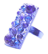 Party Time Electric Blue Gems 2cm Statement One Size Fits All Hand Ring(Zx119)