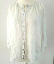 Eileen Fisher White Linen Blouse S 12 14 Shirt Top Summer Casual Holiday Linen