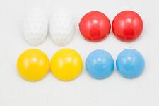 4 coppie di orecchini bianco, azzurro, giallo e rosso degli anni 80 a clips