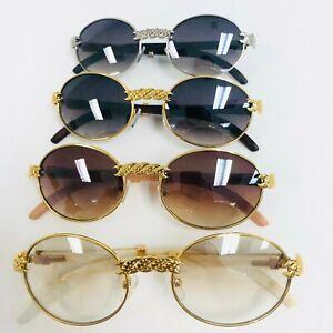 Mens Fashion Retro Vintage Migos Hip hop Clear Lens Sunglasses Gold Frame Design