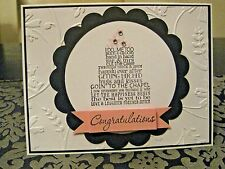 """Stampin Up Stamped Wedding Cake """"Congratulations"""" Embossed Handmade Card"""