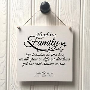Handade Family Name Plaque Sign - New Home Like Branches On A Tree Surname