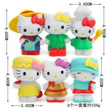 6ps lovely Hello kitty Anime action figure collection PVC Toy Gift Cake top