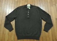 Eddie Bauer~Sport Shop~3 Button Collar Cable Knit Sweater~Brown~Men's Size M~NWT