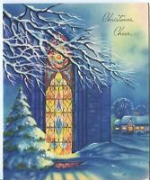 VINTAGE CHRISTMAS BLUE WHITE CHURCH STAINED GLASS WINDOW SNOW PINE TREE ART CARD