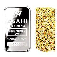 1 TROY OUNCE .999 SILVER ASAHI SERIALIZED BAR BU + 10 PIECE ALASKAN GOLD NUGGETS