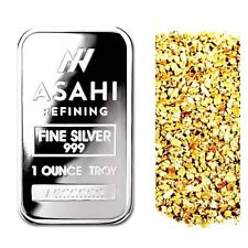 1 TROY OUNCE .999 SILVER ASAHI SERIALIZED BAR BU + 10 PIECE ALASKAN GOLD NUGGETS
