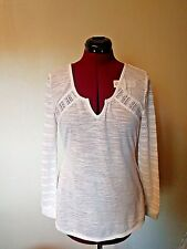 Almost Famous Womens Knit Top White Long Sleeve Size Large