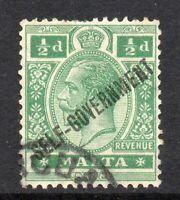 Malta 1922 KGV Self-Gov ½d wmk MSCA SG 115 used