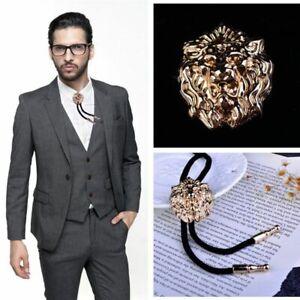 Men Lion's Head Bolo Tie Male Casual Cowboy Wear Suit Cravat Wool String Necktie