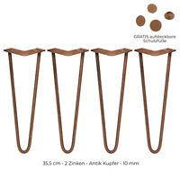 4 x Hairpin Legs Haarnadelbeine 35,5cm 2 Streben Tischbeine Möbelbeine Kupfer