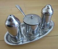 Vintage Condiment Set Oldehall Staybrite Steel Salt Pepper Mustard Tray & Spoon