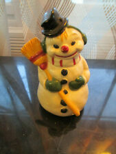 "Vtg Ceramic Christmas 4.5"" Snowman Figurine Handmade Too Cute"