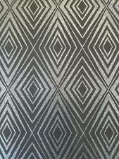 P+S Diamond Black Silver Geometric Glitter Wallpaper Shimmer Sparkle Paste Wall